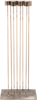 Val Bertoia (American, b. 1949) B-2278, 2019 Eight heavy brass tops silvered to beryllium-copper rod