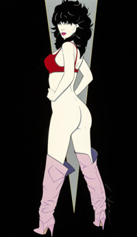 Patrick Nagel (American, 1945-1984) Standing Nude, Playboy illustration Mixed media on board 21-1