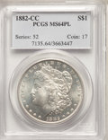 1882-CC $1 MS64 Prooflike PCGS. PCGS Population: (938/523). NGC Census: (483/215). CDN: $320 Whsle. Bid for NGC/PCGS MS6...