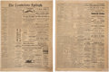 Miscellaneous:Newspaper, Tombstone Epitaph April 6, 1882: J.H. Behan Sheriff During The Gun Fight At The OK Corral And Jesse James. ... (Total: 2 Items)