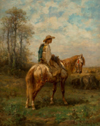Adolf Schreyer (German, 1828-1899) An Evening Ride Oil on canvas 13-1/4 x 10-1/2 inches (33.7 x 26.7 cm) Signed lowe