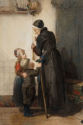 Works on Paper, Christoffel Bisschop (Dutch, 1828-1904). Helping Grandmother. Watercolor and pencil on board. 30 x 20-1/4 inches (76.2 x...