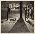 Prints & Multiples, Martin Lewis (American, 1881-1962). Corner Shadows, 1930. Drypoint and sand ground on laid paper. 8-5/8 x 8-7/8 inches (...