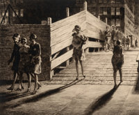 Martin Lewis (American, 1881-1962) 5th Avenue Bridge Crossing, 1928 Drypoint on laid paper 9-7/8