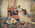 Paintings, Pierre Laprade (French, 1875-1931). Femme sur un canape, circa 1898-1900. Oil on canvas. 25-1/2 x 32 inches (64.8 x 81.3...