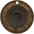 Political:Ferrotypes / Photo Badges (pre-1896), Abraham Lincoln: Back-to-Back Ferrotype. AL-1860-1...