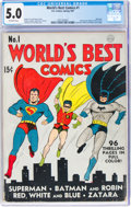 Golden Age (1938-1955):Superhero, World's Best Comics #1 (DC, 1941) CGC VG/FN 5.0 Off-white pages....