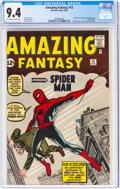 Silver Age (1956-1969):Superhero, Amazing Fantasy #15 (Marvel, 1962) CGC NM 9.4 Off-white to white pages....