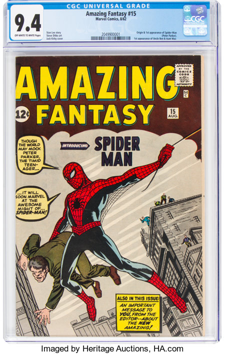 Amazing Fantasy #15 (Marvel, 1962) CGC NM 9.4 Off-white to white pages....