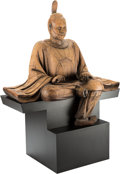 Carvings, A Rare and Monumental Japanese Carved Wooden Figure of a Seated Shinto Priest, Kamakura Period. 72 x 52 x 31 inches (182.9 x...