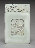 Carvings, A Chinese Carved and Reticulated White Jade Pendant, Republic Period. 2-3/8 x 1-5/8 x 1/4 inches (5.9 x 4.1 x 0.6 cm). ...