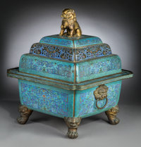 A Large and Extremely Rare Chinese Imperial Cloisonné and Gilt Bronze Censer and Cover, Qing Dynasty, 18th Centur...