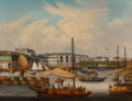Paintings, A China Trade Oil on Canvas Painting: Canton Factories, mid-19th century. 18 inches high x 23-1/2 inches wide (45.7 ...