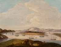 A China Trade Oil on Canvas Painting: The Whampoa Anchorage, mid-19th century 18 inches high
