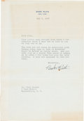 Baseball Collectibles:Others, 1947 Babe Ruth Signed Letter....