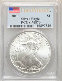 (5)2010 $1 Silver Eagle, First Strike MS70 PCGS. PCGS Population: (25821). NGC Census: (44158)