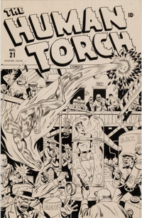 Alex Schomburg The Human Torch #21 Cover Stat Production Art (Timely, 1945)