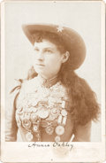 Photography:Cabinet Photos, Annie Oakley: Great Stacy Cabinet Card Displaying All Her Medals....