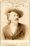 "Photography:Cabinet Photos, William F. ""Buffalo Bill"" Cody: A Scarce Inscribed And Signed Cabinet Card...."