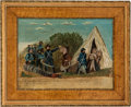 Antiques:Folk Art, Painting Of Confederate President Jefferson Davis Being Captured....
