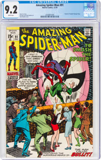 The Amazing Spider-Man #91 (Marvel, 1970) CGC NM- 9.2 White pages