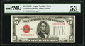 Small Size:Legal Tender Notes, Fr. 1529 $5 1928D Legal Tender Note. PMG About Uncirculated 53 EPQ.. ...