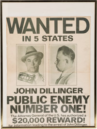 """John Dillinger: """"Public Enemy Number One"""" Wanted Poster"""