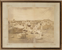Native Americans: Albumen Photograph of Pueblo Ruins Signed by the Head of the Expedition
