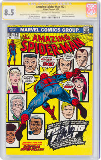 The Amazing Spider-Man #121 Signature Series: John Romita and Stan Lee (Marvel, 1973) CGC VF+ 8.5 Off-white to white pag...