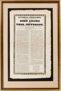 Political:Memorial (1800-present), John Adams and Thomas Jefferson: Rare Funeral Broadside....