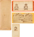 Photography:Stereo Cards, Lincoln Assassination: Three Early Photographic Items And A Booth CDV....