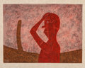 Prints & Multiples, Rufino Tamayo (1899-1991). Busto en rojo, 1984. Mixografia in colors on handmade paper. 26-1/2 x 33-3/4 inches (67.3 x 8...