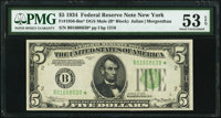 Fr. 1956-B* $5 1934 Dark Green Seal Mule Federal Reserve Star Note. PMG About Uncirculated 53 EPQ