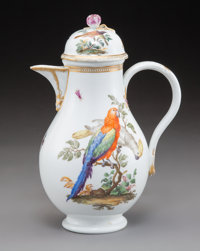 A Meissen Polychromed and Partial Gilt Porcelain Coffee Pot, Germany, 1744-1815 Marks: (crossed swords), (asterisk), 83...