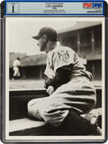 """Baseball Collectibles:Photos, 1939 Lou Gehrig """"Dugout Steps"""" Original News Photograph During His First Game After the Streak, PSA/DNA Type 1. ..."""