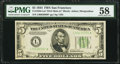 Fr. 1956-L* $5 1934 Dark Green Seal Mule Federal Reserve Star Note. PMG Choice About Unc 58