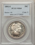 1892-S 50C MS64 PCGS. PCGS Population: (36/20). NGC Census: (8/16). CDN: $2,300 Whsle. Bid for NGC/PCGS MS64. Mintage 1...
