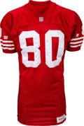 Football Collectibles:Uniforms, 1993 Jerry Rice Game Worn & Signed San Francisco 49ers Jersey - Attributed to 12/5 vs. Bengals....