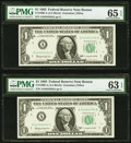 Serial 44444434 Fr. 1900-A $1 1963 Federal Reserve Note. PMG Gem Uncirculated 65 EPQ; Serial 44444484 Fr. 1900-A $1 1963...
