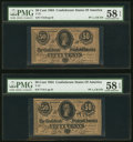 Confederate Notes:1864 Issues, T72 50 Cents 1864 PF-1 Cr. 578 Two Consecutive Examples PMG Choice About Unc 58 EPQ.. ... (Total: 2 notes)