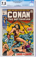 Bronze Age (1970-1979):Adventure, Conan the Barbarian #1 (Marvel, 1970) CGC VF- 7.5 White pages....
