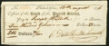 Obsoletes By State:Pennsylvania, Philadelphia, PA- Bank of the United States $211.33 Aug. 12, 1796 Check Very Fine.. ...