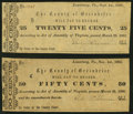 Obsoletes By State:Virginia, Lewisburg, VA- County of Greenbrier 25¢ Sep. 1, 1862; 50¢ Nov. 1, 1862 About Uncirculated or Better.. ... (Total: 2 notes)