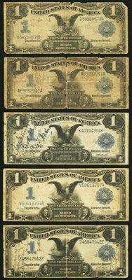 Five Well Circulated $1 Silver Certificates Good or Better. ... (Total: 5 notes)