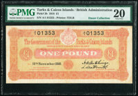 Turks & Caicos Islands Government of the Turks and Caicos Islands 1 Pound 12.11.1918 Pick 3b PMG Very Fine 20&lt...
