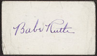1946 Babe Ruth Signed Blank Business Card