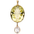 Estate Jewelry:Pendants and Lockets, Prasiolite, Synthetic Sapphire, Gold Pendant . ...