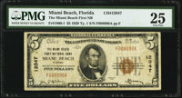 Miami Beach, FL - $5 1929 Ty. 1 The Miami Beach First National Bank Ch. # 12047 PMG Very Fine 25.</