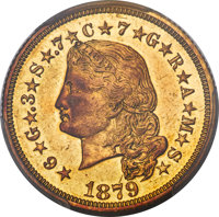 1879 $4 Flowing Hair, Judd-1635, Pollock-1833, JD-1, R.3 -- Repaired -- PCGS Genuine. AU Details....(PCGS# 8057)