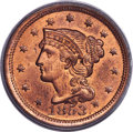 Large Cents, 1853 1C N-25, R.1, MS65 Red PCGS. CAC....